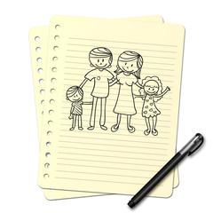 Dessin au stylo : Jeune famille N