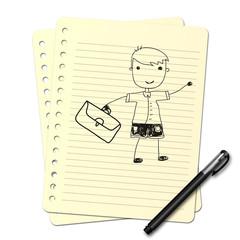 Dessin au stylo : Écolier N