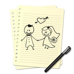 Dessin au stylo : Mariage N