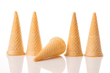 Ice Cream Waffles on white isolated background