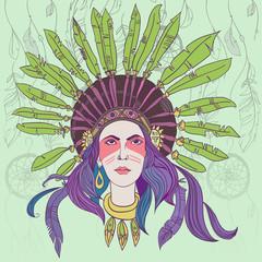 Индейская девушка в головном уборе из перьев