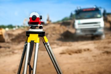 surveyor engineering equipment with theodolite