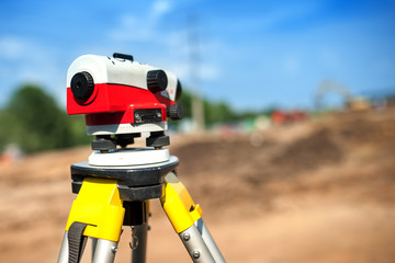 close-up of theodolite measuring system or surveying engineering