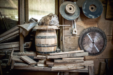 old and dusty, vintage workshop of a carpenter with spider web