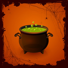 Halloween cauldron and spiders