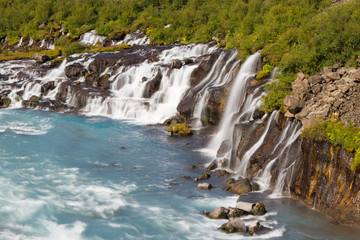 Hraunfossar, a series of waterfalls in western Iceland