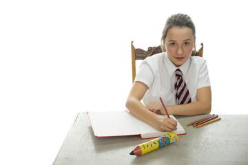Young schoolgirl sitting doing her homework