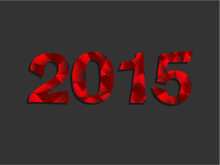Happy New Year 2015 Red Triangle Text Message  Vector