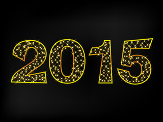 Happy New Year 2015 Gold Star Triangle Text Message  Vector