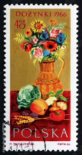 Postage stamp Poland 1966 Flowers and Farm Produce - 69177110