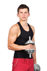 muscular  man with two dumbbells