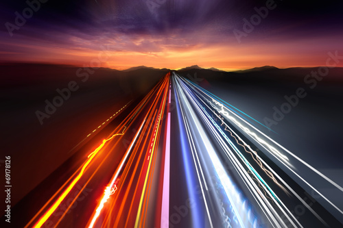 canvas print picture Fast Traffic Light Trails