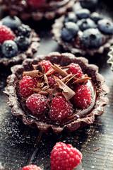 Chocolate tart with fresh raspberries