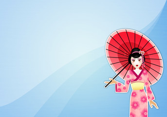 Geisha with umbrella background