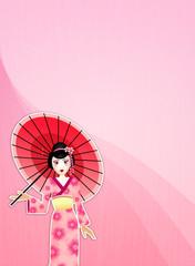 Geisha with umbrella background