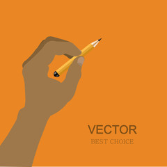 vector modern hand with pencil.