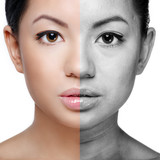 Face of beautiful young woman before and after retouch poster