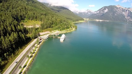 Panorama View on Austrian Mountain Lake - Aerial Flight
