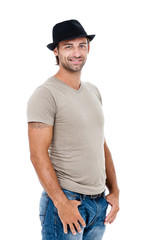 Smiling young man with a hat