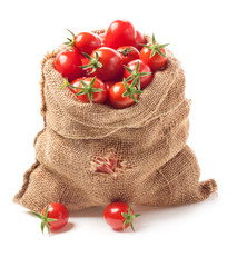 Tomatoes in canvas bag isolated on white background
