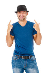 Smiling young man gesturing