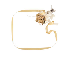 square shape of decorative ribbon for text with bouquet