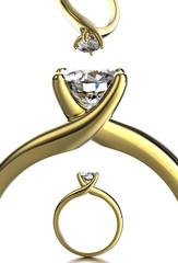 Wedding Ring with diamond. Jewelry background