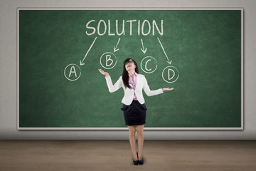 Businesswoman with solution choices