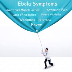 Doctor pulling Ebola symptoms banner