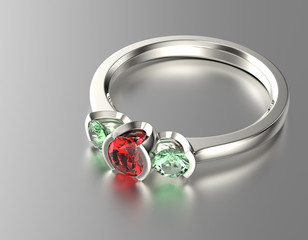 Golden Ring with ruby. Jewelry background