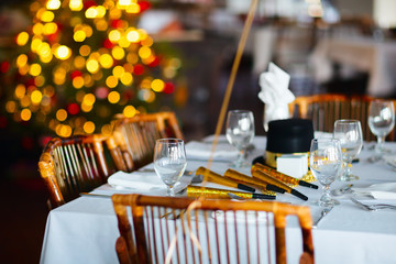 Table setting for Christmas party