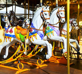 Traditional carousel with horses