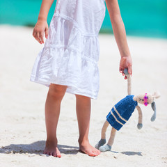 Little girl with toy at beach
