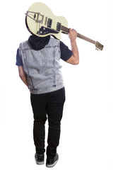 Male guitarist with guitar rear view 2