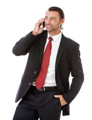 handsome young business man talking on the phone