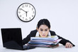 Tired businesswoman overworked