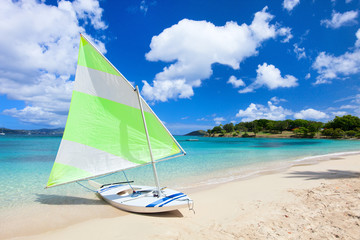 Catamaran at tropical beach