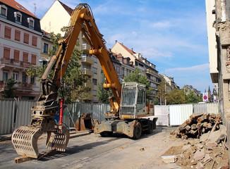 engin de chantier de démolition