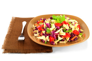 Mixed cabbage salad and peppers