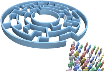 People crowd search maze isolated