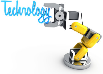 Robotic arm holding Technology word
