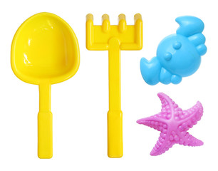 Beach toys set isolated on white background