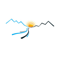 River Mountain and Sun image logo.