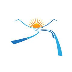 Valley Road and Sun horizon image logo