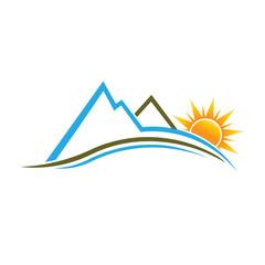 Mountains and Sun image logo