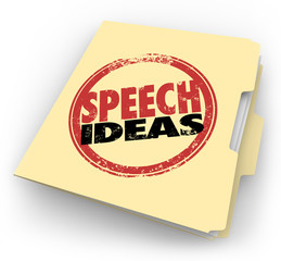 Speech Ideas Stamp Manila Folder Public Speaking Advice Tips