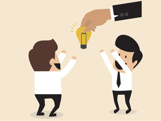 Businessmen is given an idea lightbulb