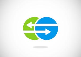 connection arrow round vector logo