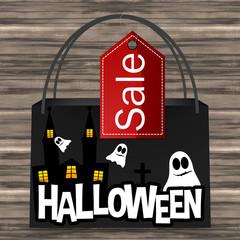 Halloween Bag Sale Wood Background