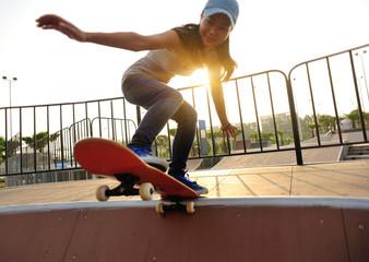 skateboard on sunrise skatepark
